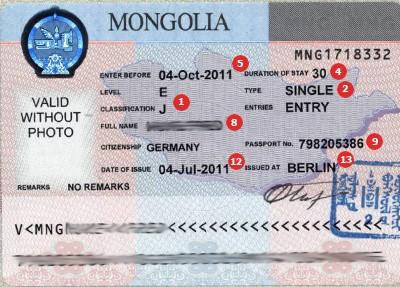 Mongolië visum